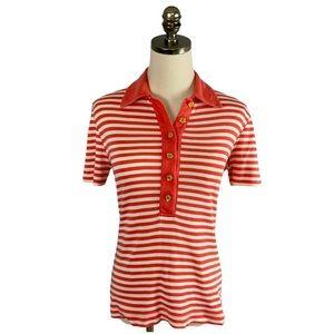 Tory Burch Stripes Coral White Polo Shirt Size S